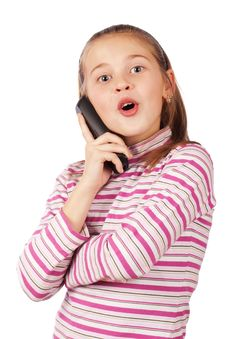 Free Beautiful Child With A Phone Royalty Free Stock Photos - 17905638