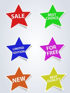 Free Set Of Different Labels Star Royalty Free Stock Images - 17905729
