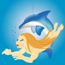 Girl And Dolphin Royalty Free Stock Photos