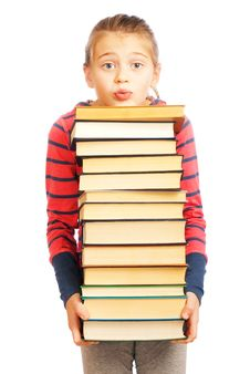 Free Tired Schoolgirl With A Pile Of Books Royalty Free Stock Photography - 17906037
