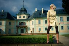 Attractive Blond Girl In Castle Park Royalty Free Stock Images