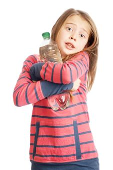 Schoolgirl With A Bottle Of Mineral Water In Hand Stock Images