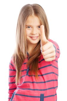 Free Beautiful Girl Shows Thumbs Up Sign Stock Images - 17906314