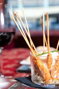 Free Bamboo Skewer With Fried King Prawns Stock Images - 17906914