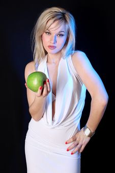 Free Girl With Green Apple Stock Photo - 17907130