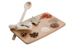 Kitchen Board With Spices Stock Photography