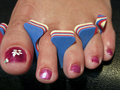 Free Woman Foot After A French Pedicure, USA Royalty Free Stock Images - 17911859