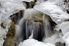 Free Water Flowing Under Ice On Dolomites Royalty Free Stock Image - 17911176