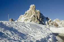 Snowy Landscape Of Dolomites Mountains Royalty Free Stock Photo