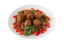 Free Meatballs With Beans And Pepper Stock Images - 17912274