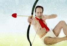 Free Cupid With Hearth Shaped Arrow Stock Images - 17913334