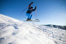Man Practising Extreme Ski Royalty Free Stock Photo
