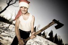 Furious Santa With An Axe Stock Images