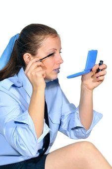 Girl Paints Eyelashes Stock Photo