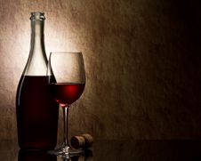 Bottle With Red Wine Royalty Free Stock Images
