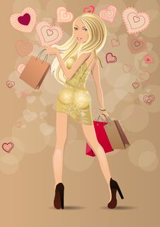 Beautiful Blond Carrying Bags Royalty Free Stock Photos