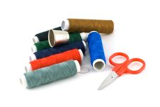 Colorful Spools, Scissors And A Thimble Stock Image