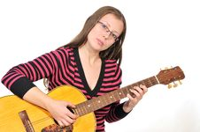 Free Girl With Guitar 2 Royalty Free Stock Photography - 17914387