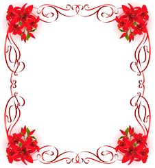 Free Beautiful Frame With Lily Stock Photos - 17914543