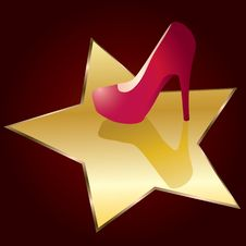 Red Shoes On The Background Of Stars. Royalty Free Stock Photo