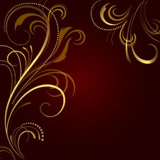 Free Abstract Background With Golden Ornament Stock Image - 17915011
