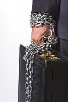 Free Hand Chained To A Suitcase Royalty Free Stock Photo - 17915115