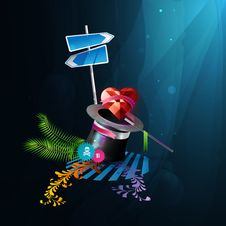 Free Icon Red Heart Comes Out Of A Hat Magician. Royalty Free Stock Photo - 17915265