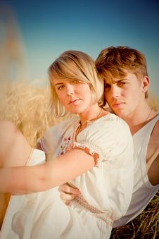 Free Image Of Young Man And Woman On Wheat Field Stock Photography - 17915462