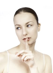 Free Young Girl With Her Finger Over Her Mouth Stock Photos - 17915883