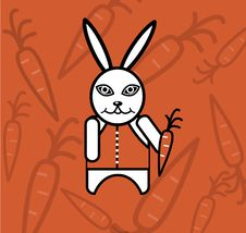 Free White Rabbit With Carrot Stock Photography - 17916922