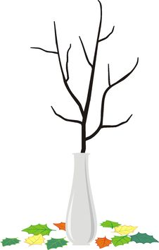 Free Branch In Vase And Fallen Down Leaves - Cartoon St Royalty Free Stock Images - 17917539
