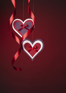 Free Paper Hearts With Red Ribbon Stock Image - 17918111