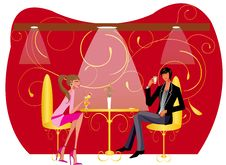 Bar Restaurant Lounge Coffee Couple Illustration Stock Images