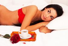 Free Girl Lying In Bed With Gifts, Cards, Hearts, Coff Stock Photo - 17919310