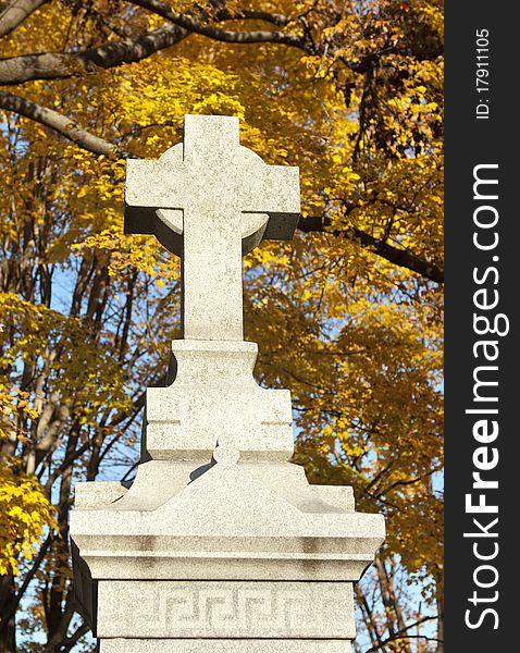Cross Monument In Cemetery