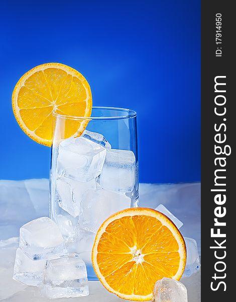 Empty Glass with orange slices