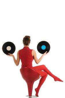 Free Young Woman With Vinyl Record Stock Images - 17920514