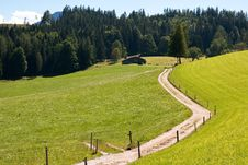Free Driveway Crossing Mountain Pasture Meadows Royalty Free Stock Photography - 17920957