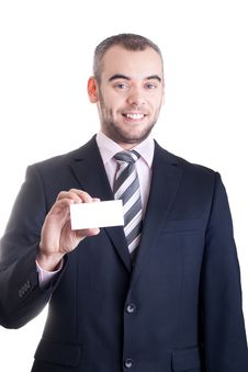 Free Business Man Holding A Blank Business Card Stock Images - 17921654