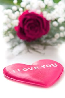 Free Pink Rose With A Red Heart Royalty Free Stock Photos - 17921958