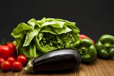 Free Aubergine With Salad And Paprikas Stock Image - 17923231