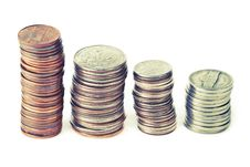 Free Four Piles Of Coins Royalty Free Stock Image - 17923446
