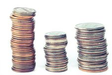 Free Three Piles Of Coins Stock Image - 17923471