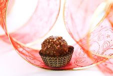 Free Chocolate Truffle With Red Ribbon Royalty Free Stock Images - 17924039