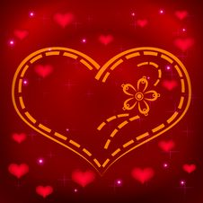 Background, Heart Embroidery Royalty Free Stock Photo