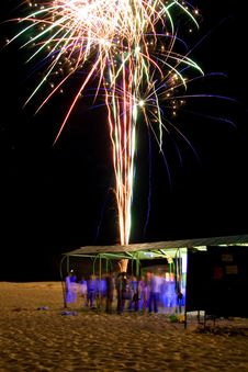 Free Night Beach Party With Firework Royalty Free Stock Photo - 17925605