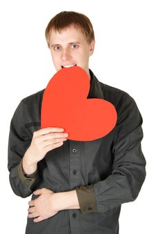 Free Man Bite Red Paper Heart Isolated Stock Photos - 17927423