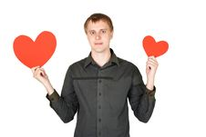 Free Man Holding Red Paper Hearts Isolated Royalty Free Stock Photography - 17927427