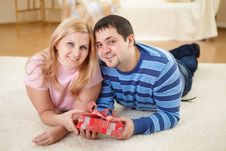 Free Man At Home With A Present Stock Photos - 17927653