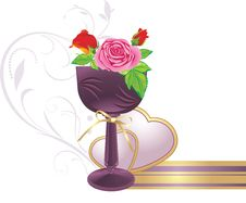 Free Vase With Bouquet Of Roses And Hearts Stock Photo - 17927680